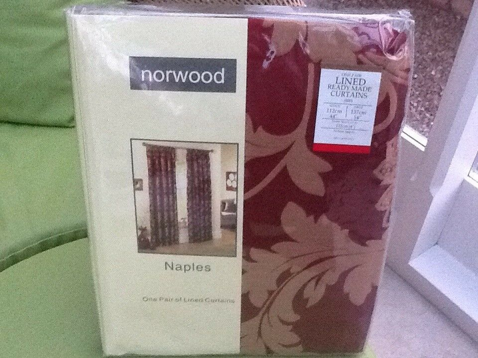 Brand new lined Burgundy ready made curtains