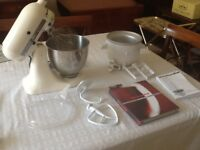 Kitchen Aid stand food mixer with ice cream making attachment and cookery book