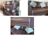 2 x 2 SEATER CHUNKY BROWN LEATHER SOFAS VERY MODERN AND ULTIMATE COMFORT REALLY NICE QUALITY