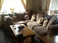 Beige/brown corner suite left & right hand both hardly used
