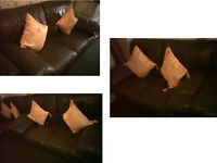 Lovely and comfy SCS Brown leather 3 seater and 2 seater sofas Very comfy DETAILS BELOW