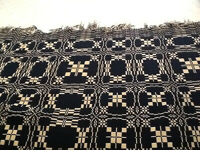 """ANTIQUE BLUE & CREAM WOVEN COVERLET TWO PANEL HAND LOOMED REVERSIBLE 80"""" x 80"""""""""""