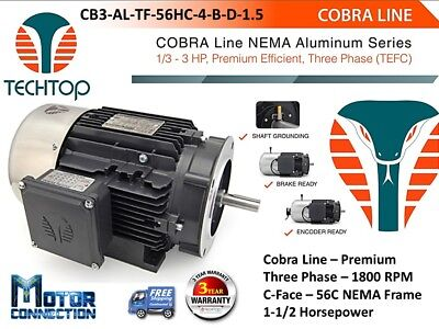 1.5 Hp Electric Motor Cobra Line 1800rpm Three Phase 56c - C-face