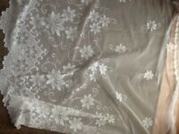 2 x white net curtains