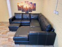 Incredible Comfort Black Leather Corner Sofa
