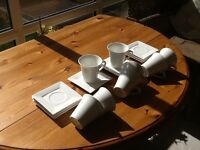Maxwell and Williams East Meets West White Tea Cup and Saucers (8 off each)