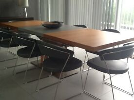 Bo concept extendable walnut and aluminium dining table