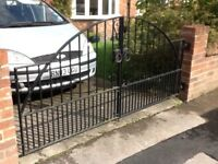 Pair iron driveway gates each 120cm wide x 117cm high