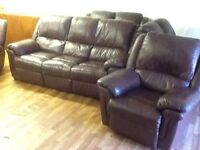 311 BROWN LEATHER RECLINER SOFA
