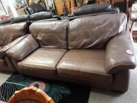Brown leather suite Copley Mill LOW COST MOVES 2nd Hand Furniture STALYBRIDGE SK15 3DN