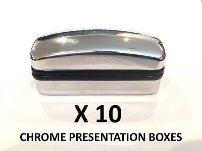Bulk Buy Chrome Cufflinks Box - 10 Presentation Boxes with Hinged Lid