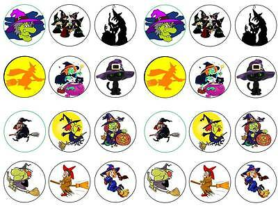 24 Halloween witches cartoon theme cupcake toppers birthday party edible paper (Cartoon Halloween Witches)