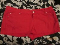 RED SHORTS SIZE 20 by new look GREAT FOR NIGHT OUT CLUBBING / HOLIDAY have more shorts for sale