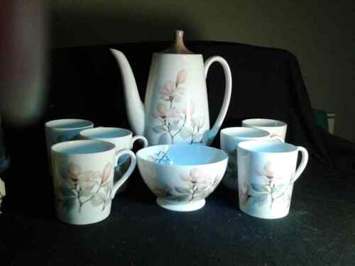 ROYAL ADDERLEY FINE BONE CHINA ENG. 8 Piec. COFFEE POT set  Ophelia Pattern
