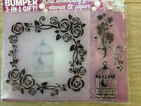 Embossing folder, complete with rubber stamps