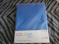 blue curtains brand new in packet size 46 inch wide x 72 inch drop bedroom/ lounge not tab tops