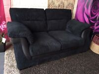 New Black Fabric Sofa Jumbo Cord Black 2 Seater Sofa Delivery Available
