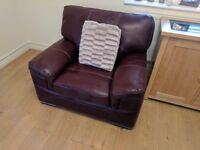 Burgundy/red Leather arm chair