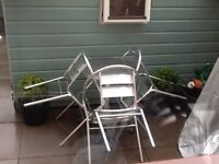 Garden bistro table and 4 chairs