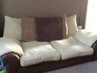 Beige and Brown 3 & 2 seater settee
