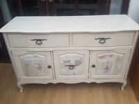 Beautiful upcycled decoupage sideboard, 2 curved drawers 3 door on Queen Anne legs