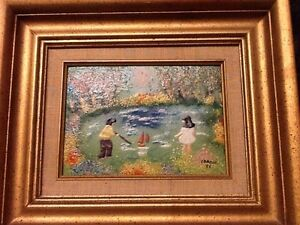 LOUIS CARDIN SIGNED ENAMEL ON COPPER PAINTING