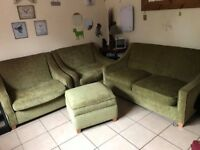 3 Seater soft, Two Wide Chairs and Storage Footstool DFS Pale Green/Lime