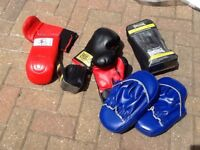 Boxing gloves , sparring mits, hand wraps