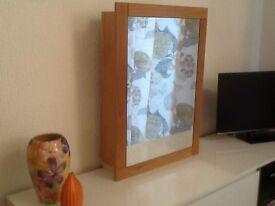 Bathroom cabinet, oak laminate framed mirror, 2 internal shelves