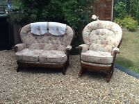 Ercol style 2 seater settee and rocking chair