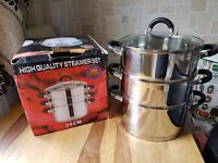 24cm STAINLESS STEEL VEGETABLE FOOD STEAMER SET 3 TIER INDUCTION BASE GLASS VENTED LID