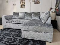 ¬¬ SAME DAY / NEXT DAY DELIVERY ¬¬ NEW DYLAN CRUSH VELVET CORNER SOFA OR 3+2 SOFA SET AVAILABLE NOW