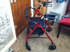 MOBILITY WALKER WALKING AID WITH SEAT STORAGE BAG AND BRAKES