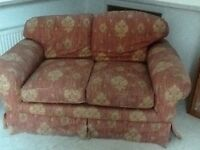 2 seater fabric settee. Great for conservatory. Good condition
