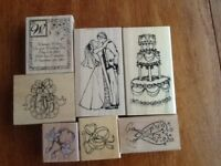 A selection of wedding rubber stamps