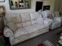 Beige fabric two piece suite Copley Mill LOW COST MOVES 2nd Hand Furniture STALYBRIDGE SK15 3DN