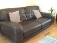 Chocolate Brown Leather 2 & 3 Seater Sofa