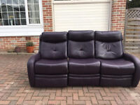 Three seater double recliner leather sofa