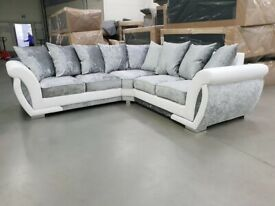 Brand New ✅🔆Stunning Shannon Crushed Velvet Corner Sofa Set🔆✅Order Now