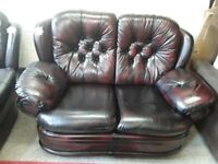 Oxblood leather Chesterfield Sofa £125 LOW COST MOVES 2nd Hand Furniture STALYBRIDGE SK15 3DN