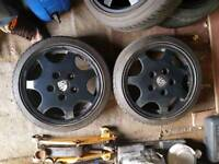 staggered Porsche d90 wheels, tyres and adapters 4x100