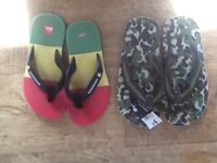 2 PAIRS BOYS FLIP-FLOPS SIZE 3/4 QUIKSILVER RED/YELLOW/GREEN & PAIR GREEN COMBAT ( NEW WITH TAG ON)