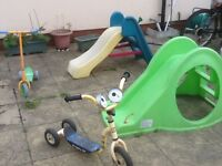 Toddlers outdoor slide and scooters -any item is £5 each-used but in full working rider -no damage