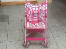 Pink stroller from Mothercare -used and in full working order-seat has been removed and washed-£10