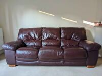 Genuine leather brown 3 seater sofa