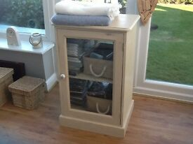Storage cabinet, solid pine, painted in Annie Sloan chalk paint. Great for storing CDs wii games etc