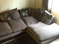 Grey & black corner couch - very good condition, only 1 year old