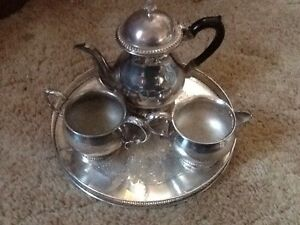 Silver plated tea set and tray. Teapot, sugar bowl, milk jug Toowoon Bay Wyong Area Preview