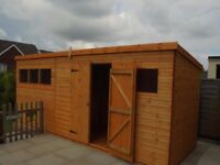 20 X 10 PENT HEAVY DUTY TONGUE & GROOVE TIMBER WORKSHOP/STORAGE GARDEN SHED
