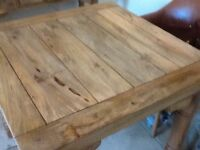 CHUNKY WOOD DINING TABLE. EXTENDING.